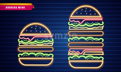 Neon burgers different sizes Vector poster. Glowing Fastfood light billboard symbol. Cafe menu template Stock Vector
