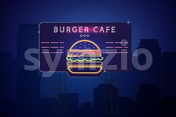 Neon burger Vector poster. Glowing sign dark city background. Fastfood light billboard symbol. Cafe menu template Stock Vector