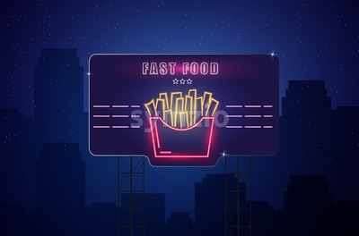 Neon fries Vector poster. Glowing sign dark city background. Fastfood light billboard symbol. Cafe menu template Stock Vector