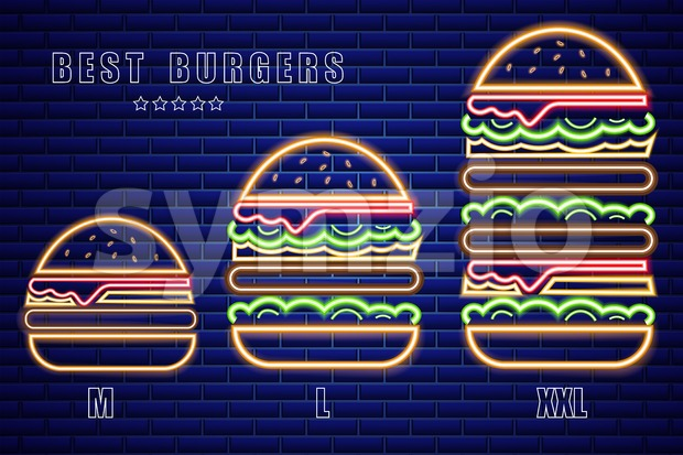 Neon burgers set of different sizes Vector poster. Glowing Fastfood light billboard symbol. Cafe menu template