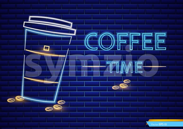 Coffee shop neon sign Vector. Glowing coffee cup to go symbol dark background. Cafe menu template