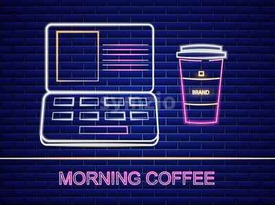 Coffee and notebook neon sign Vector billboard. Glowing symbol dark background. Cafe menu template Stock Vector