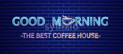 Coffee house neon sign Vector. Morning positive billboard. Glowing coffee cup symbol dark background. Cafe menu template Stock Vector