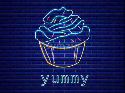 Cupcake neon symbols Vector. Glowing sign dark background. Shinning billboard or menu template Stock Vector