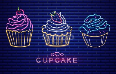 Sweet cupcakes set neon symbols Vector. Glowing sign dark background. Shinning billboard or menu template Stock Vector