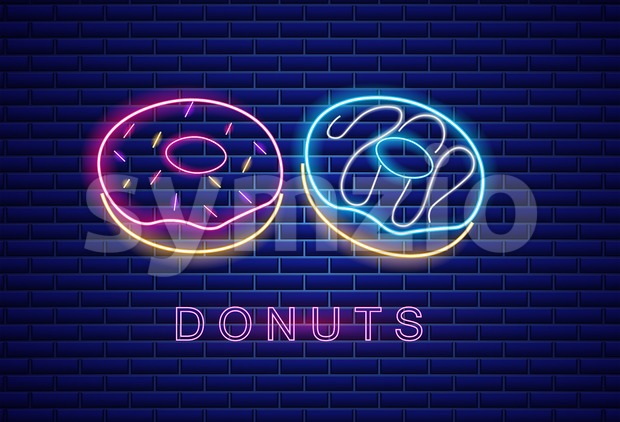 Donuts neon symbols Vector. Glowing sign dark background. Shinning billboard or menu template Stock Vector