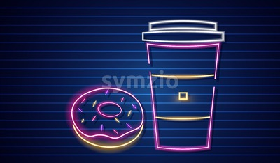 Coffee and donuts neon symbols Vector. Glowing sign dark background. Shinning billboard or menu template Stock Vector