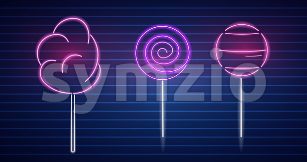 Sweet desserts neon symbols Vector. Glowing sign dark background. Shinning billboard or menu template