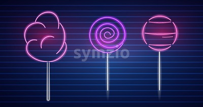 Sweet desserts neon symbols Vector. Glowing sign dark background. Shinning billboard or menu template Stock Vector
