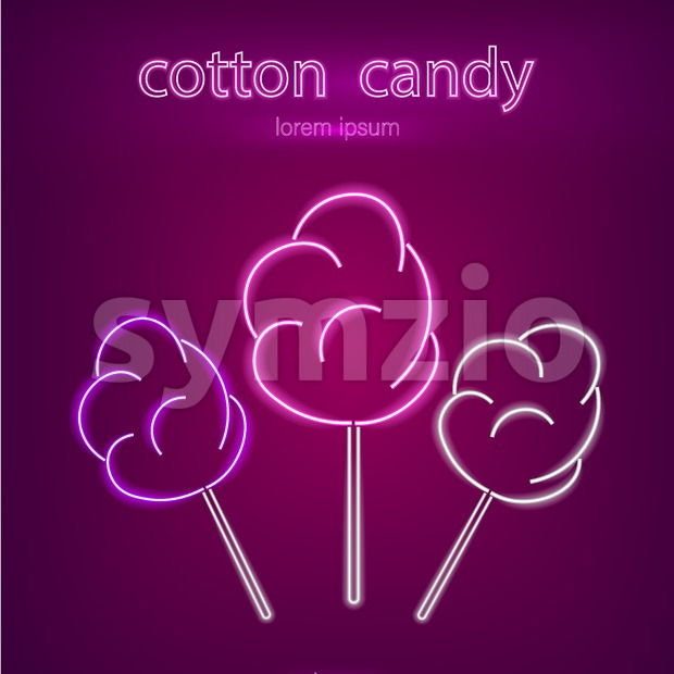 Cotton candy neon sign Vector. Glowing desserts dark background. Shinning billboard or menu template Stock Vector
