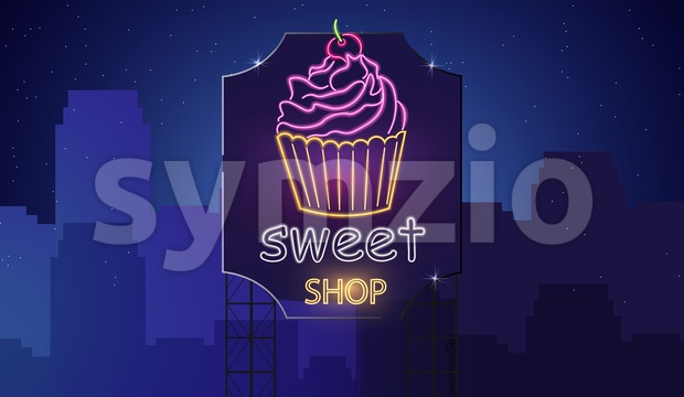 Sweet cupcake neon symbols Vector. Glowing sign dark background. Shinning billboard or menu template