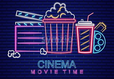 Cinema movie neon symbol Vector. Glowing sign dark background. Shinning billboard template Stock Vector