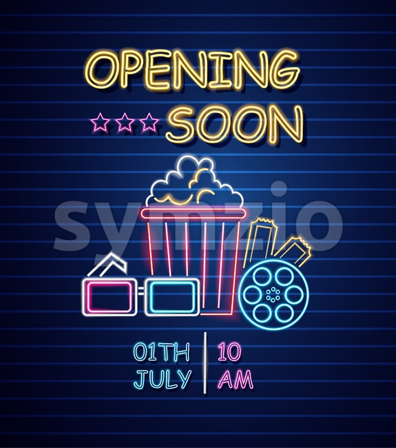 Cinema opening neon sign Vector. Glowing billboard dark background. Shinning templates movie festival symbol