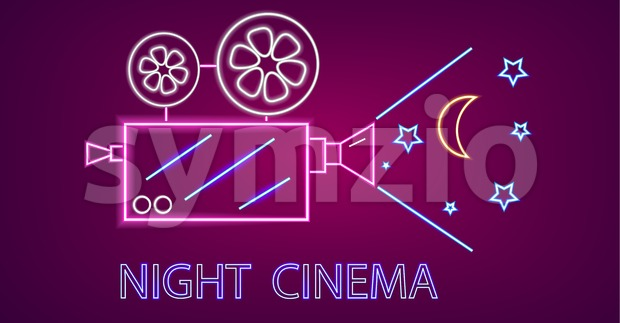 Cinema camera neon symbols Vector. Glowing sign dark background. Shinning billboard template Stock Vector