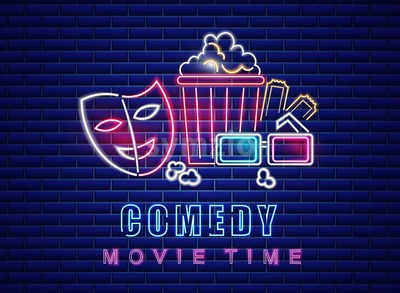 Comedy movie neon symbol Vector. Glowing sign dark background. Shinning billboard template Stock Vector