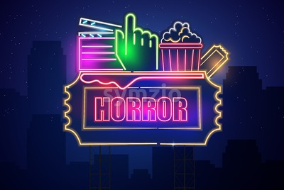 Horror movie cinema neon symbol Vector. Glowing sign dark background. Shinning billboard template Stock Vector