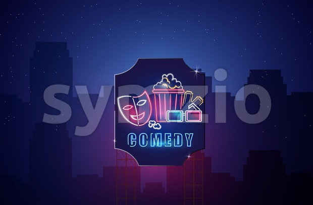 Cinema neon symbols Vector. Glowing sign dark background. Shinning billboard template Stock Vector