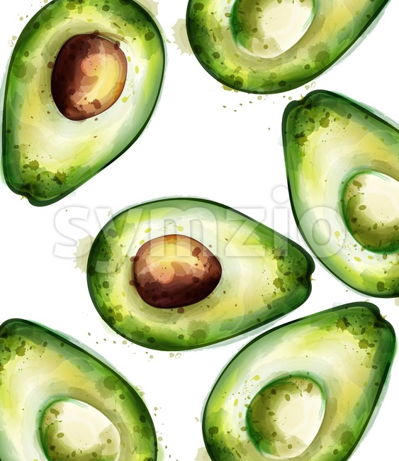 Avocado pattern watercolor Vector. Green juicy texture background
