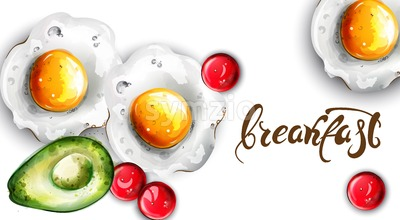 Breakfast eggs and avocado Vector. Fresh menu card template Stock Vector