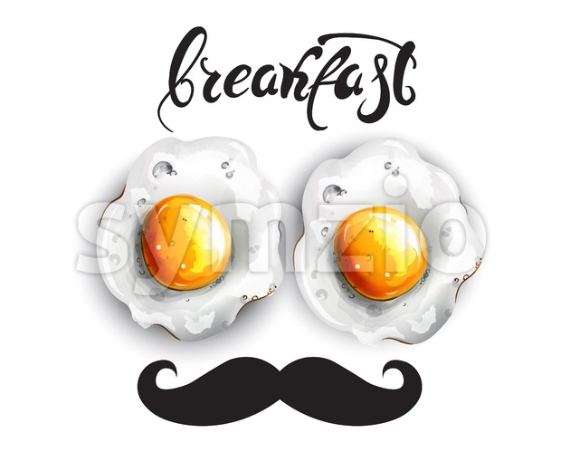 Breakfast eggs Vector. Fresh funny menu card template Stock Vector
