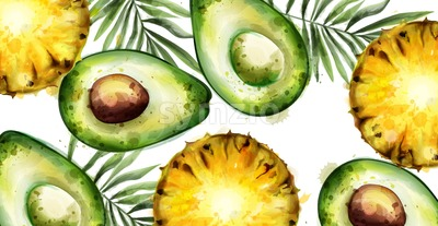 Avocado and pineapple Vector watercolor tropical banner Stock Vector