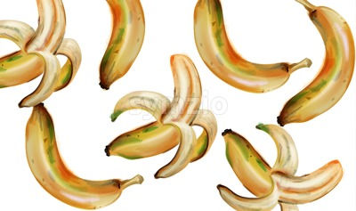 Banana pattern Vector watercolor. Colorful summer fruits texture Stock Vector