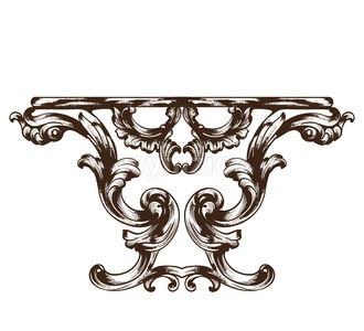 Vintage baroque table. Detailed rich ornament furniture vector illustration graphic line art Stock Vector