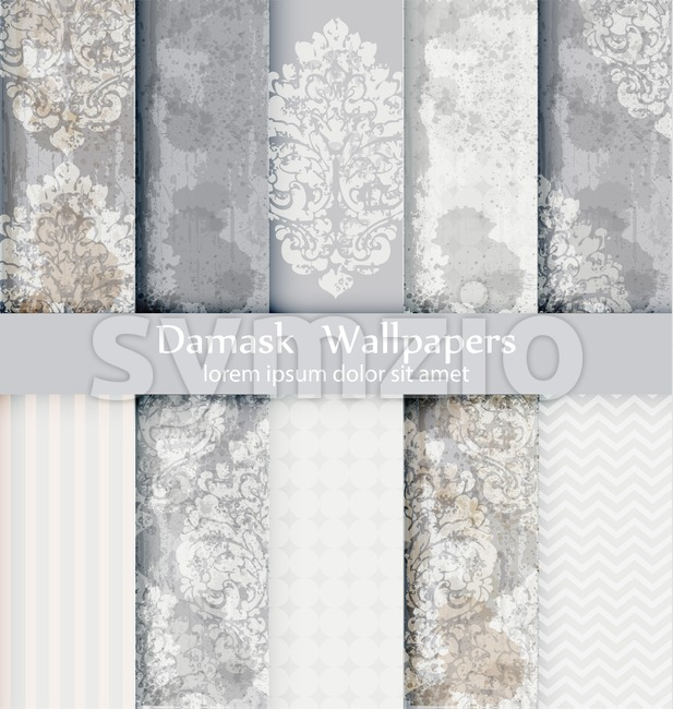 Damask patterns set collection Vector. Baroque ornament grunge background. Vintage decor. Trendy color fabric texture Stock Vector