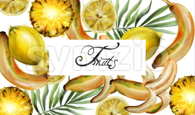 Lemon and pineapple pattern Vector watercolor. Tropic exotic fruits texture. Vintage fresh background Stock Vector