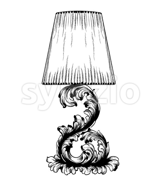 Vector baroque table lamp line art. Classic royal decor ornaments. Black and white Stock Vector