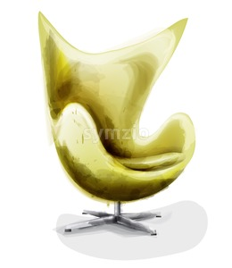 Yellow modern chair set watercolor Vector. Design decor vintage furniture Stock Vector