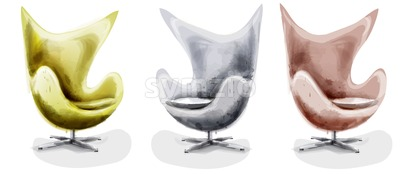 Modern chair set watercolor Vector. Design decor vintage furniture Stock Vector