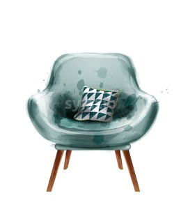 Blue retro armchair watercolor Vector. Design decor vintage furniture Stock Vector