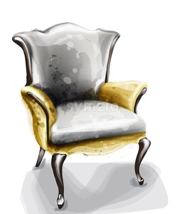 Retro armchair watercolor Vector. Design decor vintage furniture Stock Vector