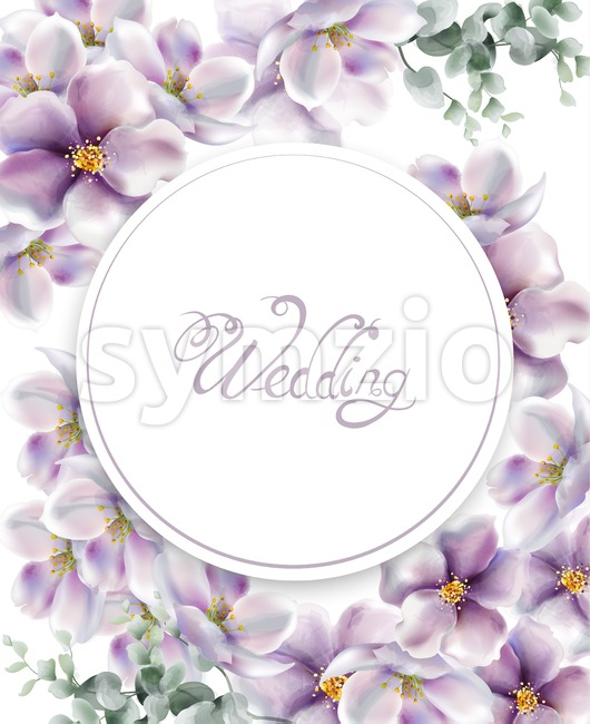 Cherry flowers wedding card watercolor Vector. Delicate spring blossom background Stock Vector