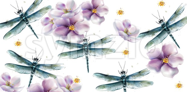 Dragon fly pattern Vector watercolor. Spring summer texture design Stock Vector