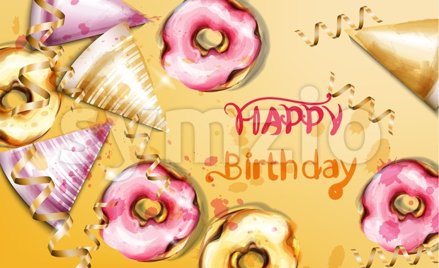 Happy birthday card Vector watercolor. Birthday hats and donuts background template banner