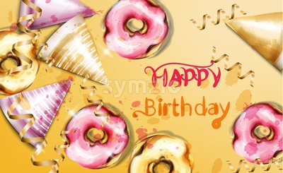 Happy birthday card Vector watercolor. Birthday hats and donuts background template banner Stock Vector