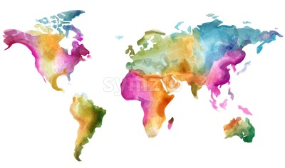 World map Vector watercolor. Colorful illustration grunge effect Stock Vector