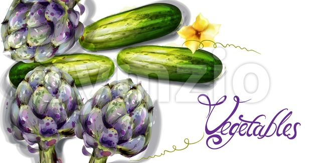 Artichoke and cucumber vegetables Vector watercolor. Spring fresh veggie Stock Vector
