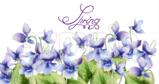 Blue Spring flowers bouquet card Vector watercolor. Spring season background. Vintage romantic decor