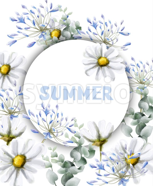 Chamomile summer card Vector watercolor. Vintage flowers white colors. Delicate frame decor Stock Vector