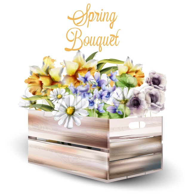 Spring flowers bouquet in a box Vector watercolor. Spring season background. Vintage romantic decor
