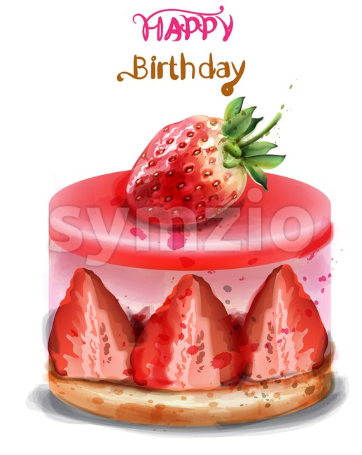 Strawberry birthday cake Vector watercolor. Happy birthday delicious card Stock Vector