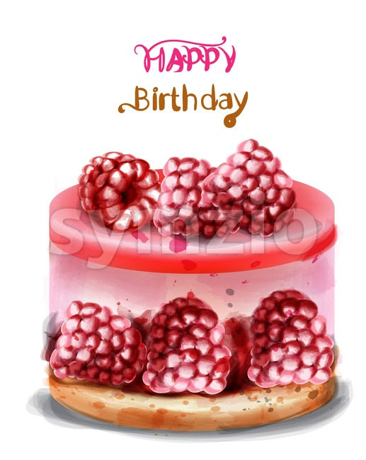 Raspberry birthday cake Vector watercolor. Happy birthday delicious card Stock Vector