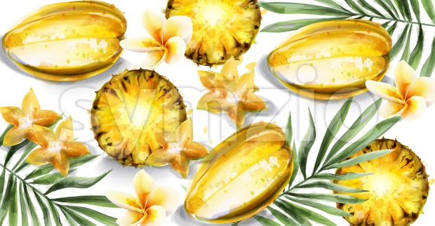 Carambola star fruit and pineapple slices Vector watercolor. Tropic juicy banner poster Stock Vector
