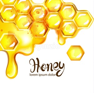 Honeycomb and bees Vector watercolor template. white background Stock Vector