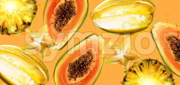 Papaya fruits Vector watercolor. Summer fresh juicy banner Stock Vector