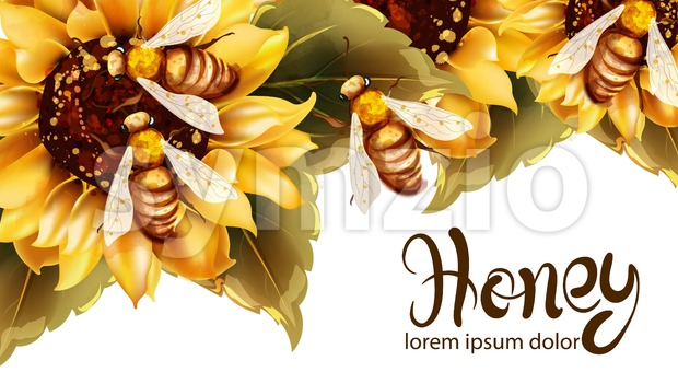 Bees making honey from sunflower Vector watercolor. Label template. Summer banner poster Stock Vector