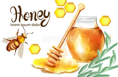Honeycomb banner watercolor illustration. sunflower and bees Vector template Stock Vector